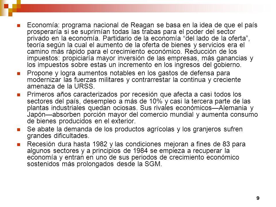 9 Economía: programa nacional de Reagan se basa en la idea de que el país prosperaría si se suprimían todas las trabas para el poder del sector privado en la economía.