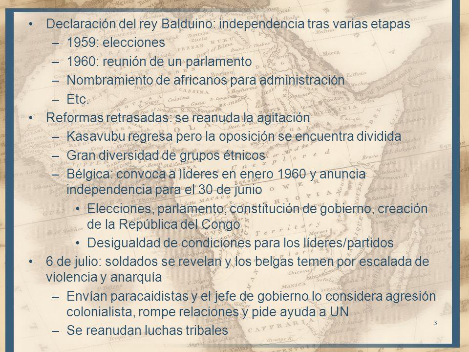 Declaración del rey Balduino: independencia tras varias etapas –1959: elecciones –1960: reunión de un parlamento –Nombramiento de africanos para admin