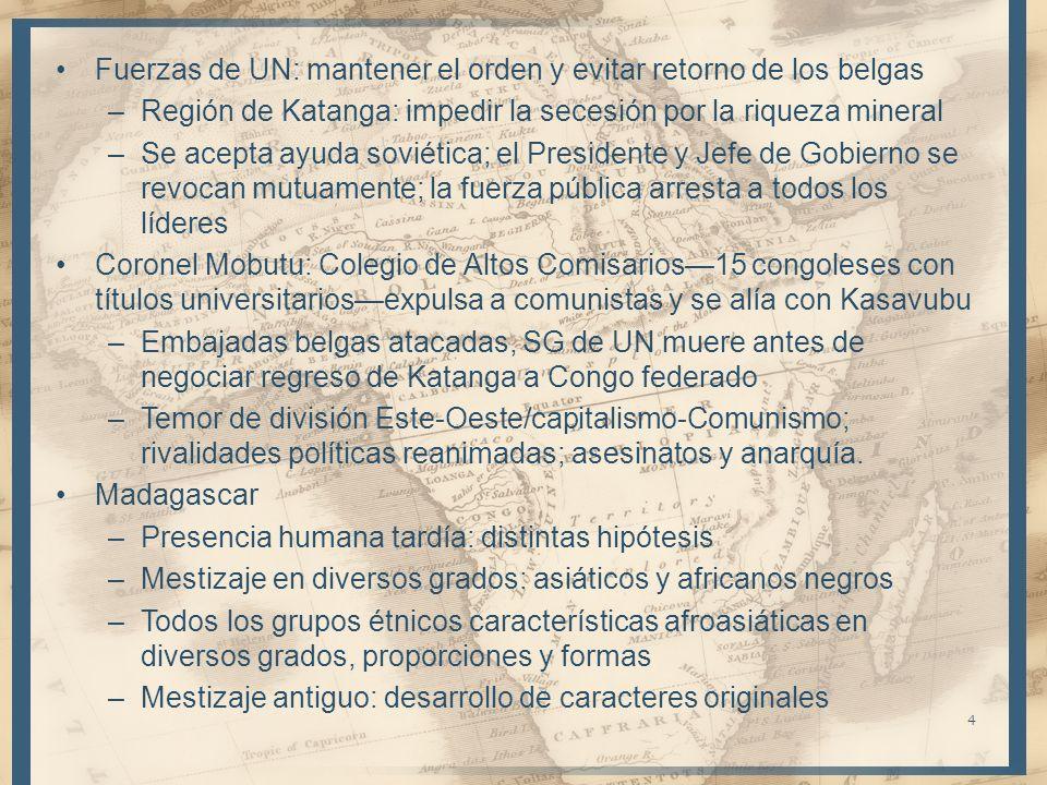 Fuerzas de UN: mantener el orden y evitar retorno de los belgas –Región de Katanga: impedir la secesión por la riqueza mineral –Se acepta ayuda soviét