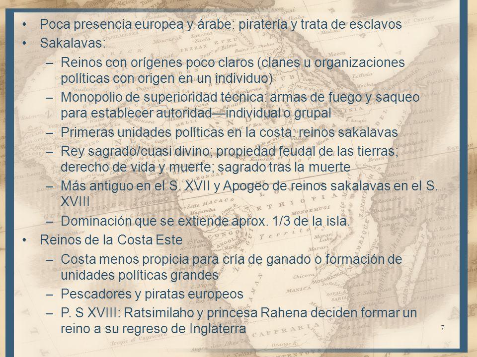 Poca presencia europea y árabe: piratería y trata de esclavos Sakalavas: –Reinos con orígenes poco claros (clanes u organizaciones políticas con orige