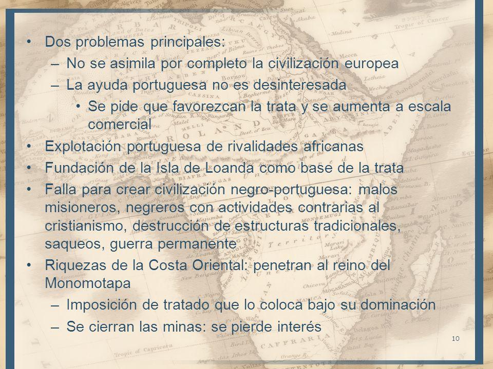 Dos problemas principales: –No se asimila por completo la civilización europea –La ayuda portuguesa no es desinteresada Se pide que favorezcan la trat