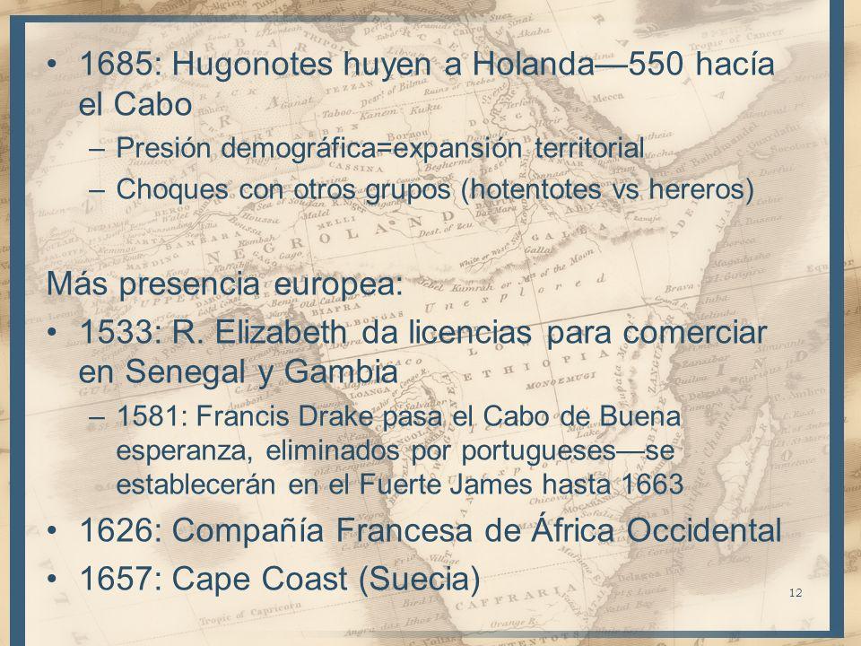 1685: Hugonotes huyen a Holanda550 hacía el Cabo –Presión demográfica=expansión territorial –Choques con otros grupos (hotentotes vs hereros) Más pres