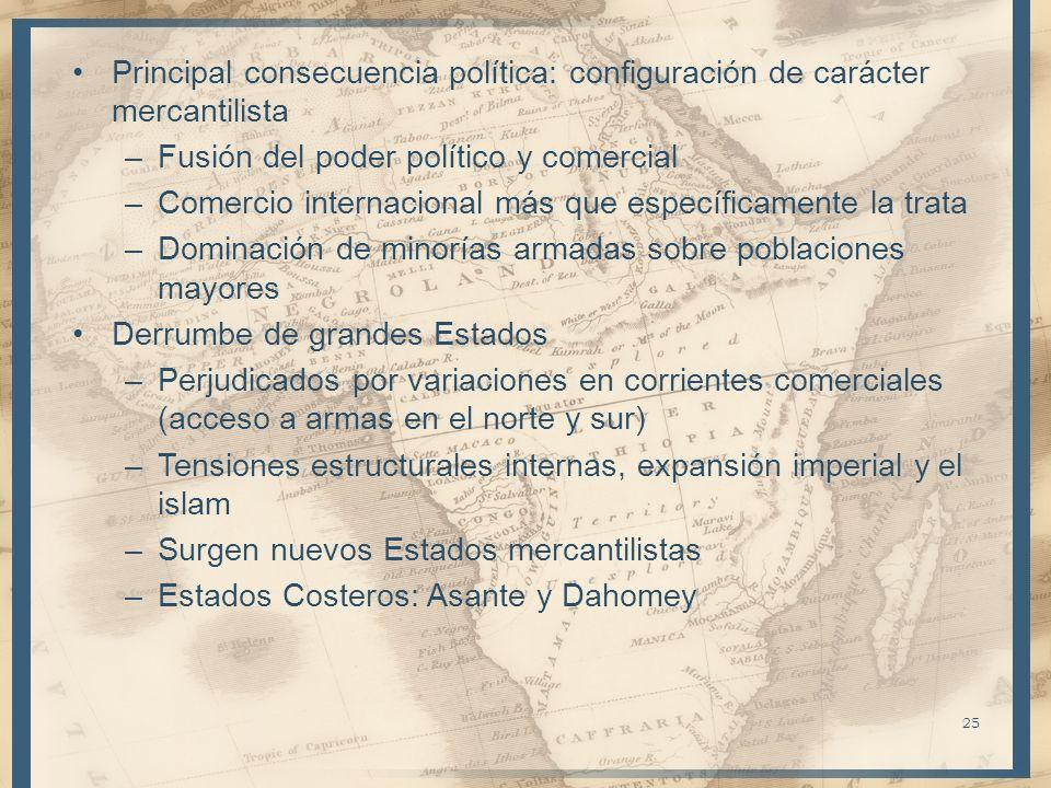 Principal consecuencia política: configuración de carácter mercantilista –Fusión del poder político y comercial –Comercio internacional más que especí