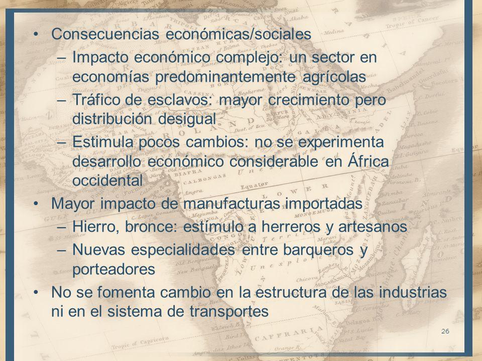 Consecuencias económicas/sociales –Impacto económico complejo: un sector en economías predominantemente agrícolas –Tráfico de esclavos: mayor crecimie
