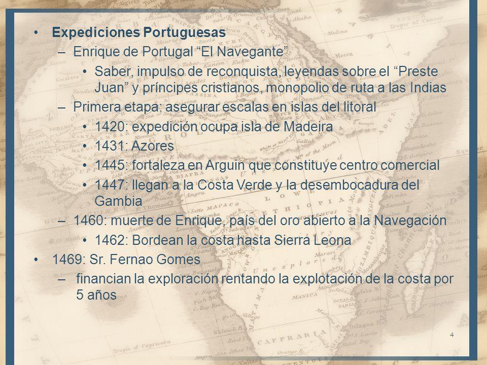 Expediciones Portuguesas –Enrique de Portugal El Navegante Saber, impulso de reconquista, leyendas sobre el Preste Juan y príncipes cristianos, monopo
