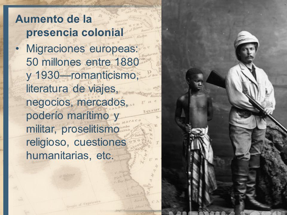 Aumento de la presencia colonial Migraciones europeas: 50 millones entre 1880 y 1930romanticismo, literatura de viajes, negocios, mercados, poderío ma