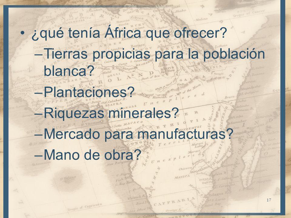 ¿qué tenía África que ofrecer? –Tierras propicias para la población blanca? –Plantaciones? –Riquezas minerales? –Mercado para manufacturas? –Mano de o