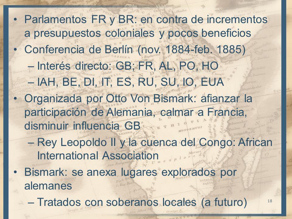 Parlamentos FR y BR: en contra de incrementos a presupuestos coloniales y pocos beneficios Conferencia de Berlín (nov. 1884-feb. 1885) –Interés direct