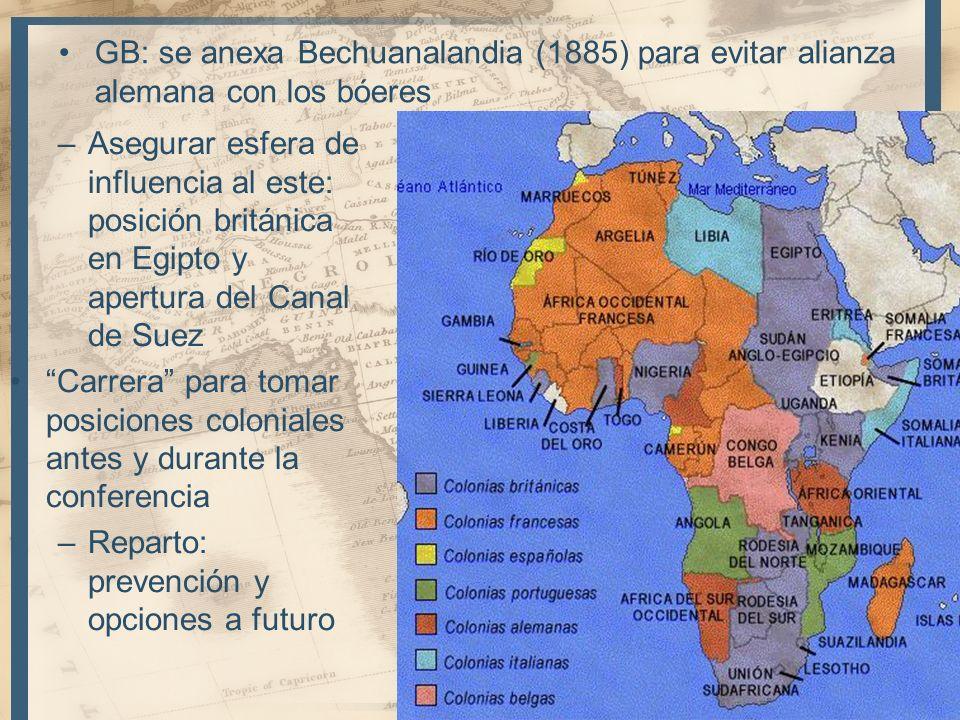 GB: se anexa Bechuanalandia (1885) para evitar alianza alemana con los bóeres 19 –Asegurar esfera de influencia al este: posición británica en Egipto