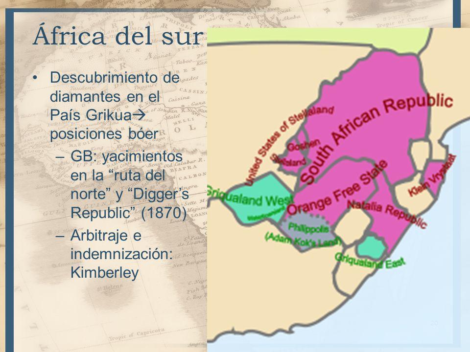 África del sur Descubrimiento de diamantes en el País Grikua posiciones bóer –GB: yacimientos en la ruta del norte y Diggers Republic (1870) –Arbitraj