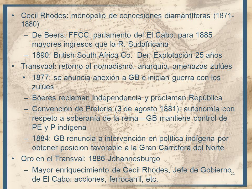 Cecil Rhodes: monopolio de concesiones diamantíferas (1871- 1880) –De Beers; FFCC; parlamento del El Cabo: para 1885 mayores ingresos que la R. Sudafr