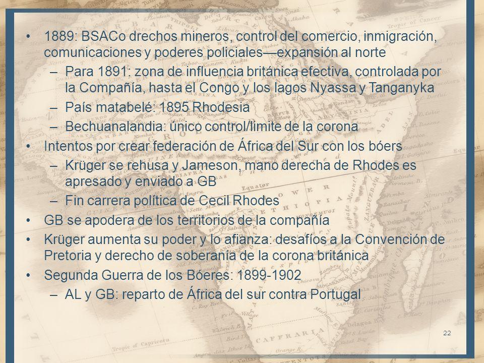 1889: BSACo drechos mineros, control del comercio, inmigración, comunicaciones y poderes policialesexpansión al norte –Para 1891: zona de influencia b