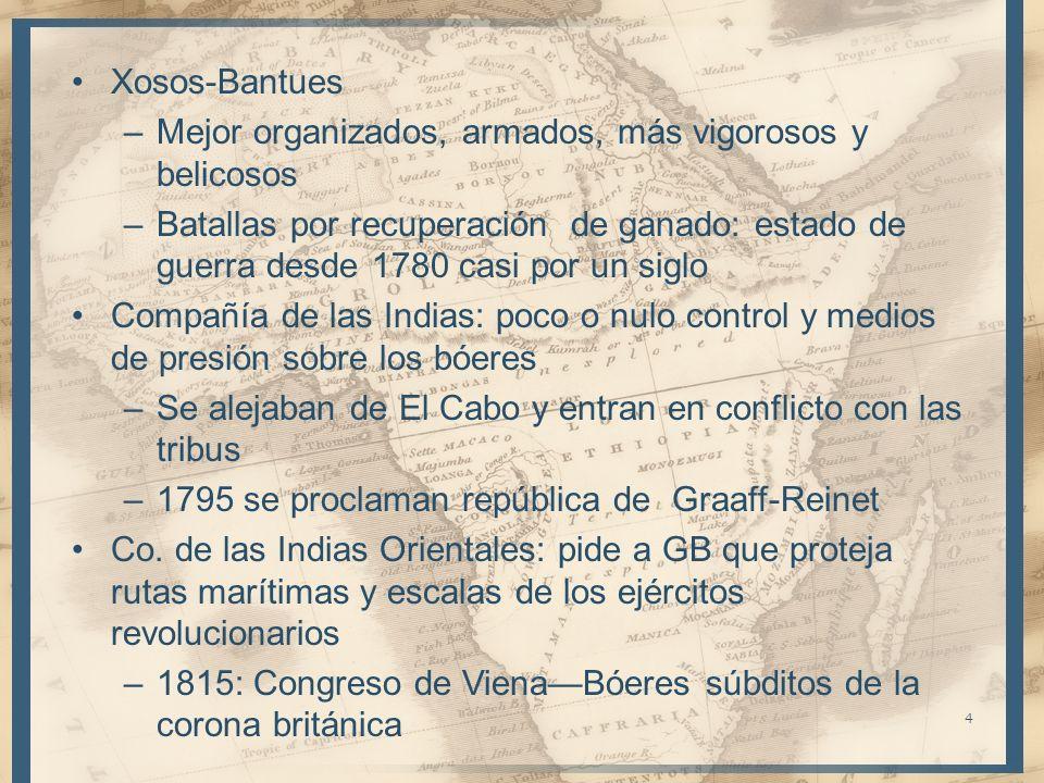 Xosos-Bantues –Mejor organizados, armados, más vigorosos y belicosos –Batallas por recuperación de ganado: estado de guerra desde 1780 casi por un sig