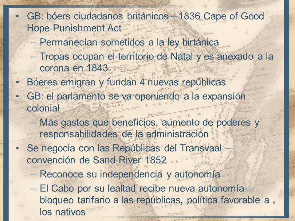 GB: bóers ciudadanos británicos1836 Cape of Good Hope Punishment Act –Permanecían sometidos a la ley birtánica –Tropas ocupan el territorio de Natal y
