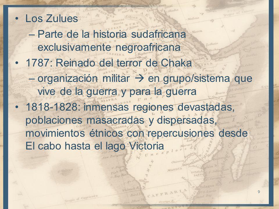 Los Zulues –Parte de la historia sudafricana exclusivamente negroafricana 1787: Reinado del terror de Chaka –organización militar en grupo/sistema que