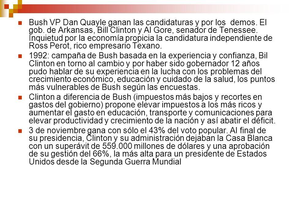 Bush VP Dan Quayle ganan las candidaturas y por los demos.