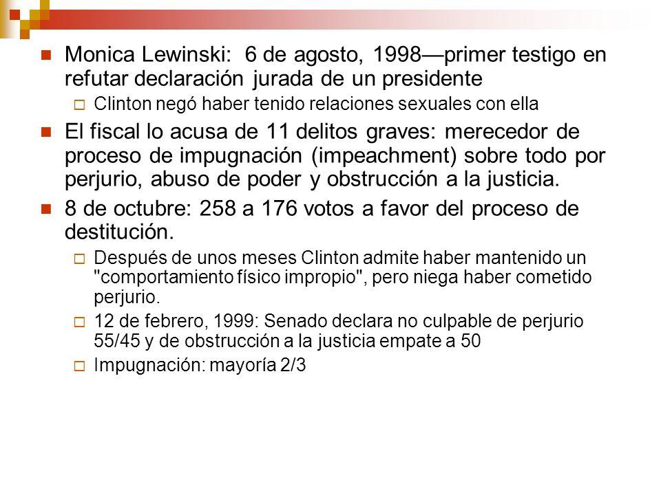 Monica Lewinski: 6 de agosto, 1998primer testigo en refutar declaración jurada de un presidente Clinton negó haber tenido relaciones sexuales con ella El fiscal lo acusa de 11 delitos graves: merecedor de proceso de impugnación (impeachment) sobre todo por perjurio, abuso de poder y obstrucción a la justicia.