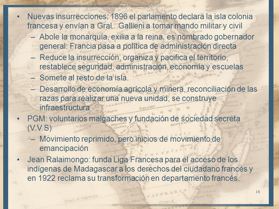 –Ravoahangy (V.V.S) se une y son arrestados tras manifestación: el movimiento se convierte en reivindicación de la independencia –Nacionalistas permanecen unidos a FR durante SGM De Gaulle: restauración de la economía, política de colaboración pero excluyendo idea de autonomía –Diputados en asamblea constituyente de 1945: fundan el Movimiento Democrático de la Renovación Malgache y en Madagascar se crean otros grupos –Const.