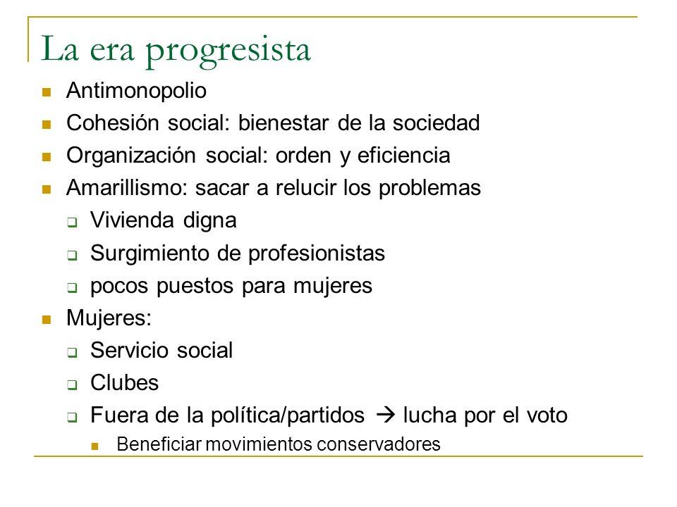 La era progresista Antimonopolio Cohesión social: bienestar de la sociedad Organización social: orden y eficiencia Amarillismo: sacar a relucir los pr