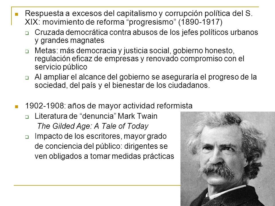 Respuesta a excesos del capitalismo y corrupción política del S. XIX: movimiento de reforma progresismo (1890-1917) Cruzada democrática contra abusos