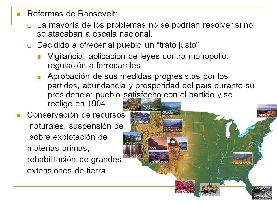 Reformas de Roosevelt: La mayoría de los problemas no se podrían resolver si no se atacaban a escala nacional. Decidido a ofrecer al pueblo un trato j