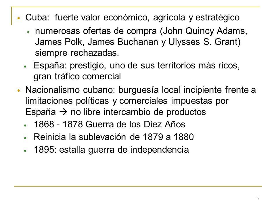 7 Cuba: fuerte valor económico, agrícola y estratégico numerosas ofertas de compra (John Quincy Adams, James Polk, James Buchanan y Ulysses S. Grant)