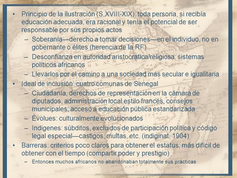 Principio de la ilustración (S.XVIII-XIX): toda persona, si recibía educación adecuada, era racional y tenía el potencial de ser responsable por sus p