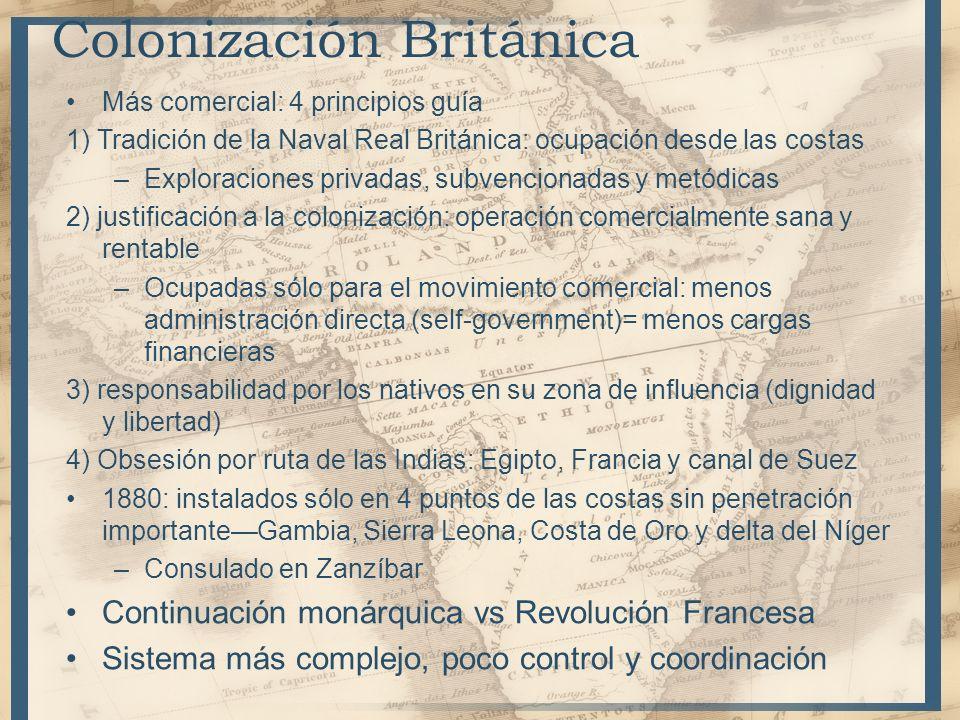 Más comercial: 4 principios guía 1) Tradición de la Naval Real Británica: ocupación desde las costas –Exploraciones privadas, subvencionadas y metódic
