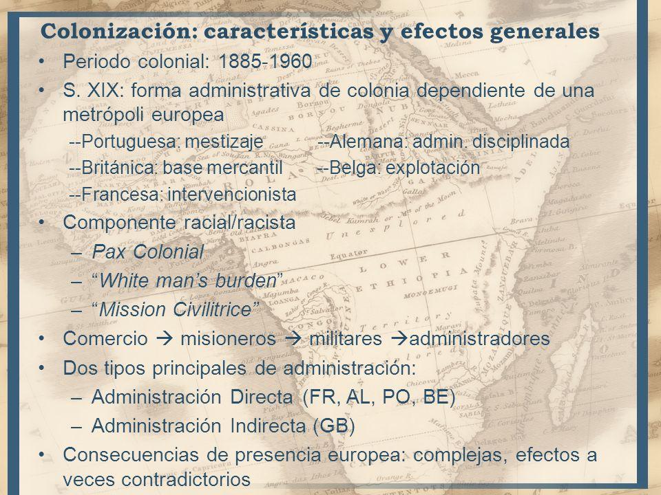 Colonización: características y efectos generales Periodo colonial: 1885-1960 S. XIX: forma administrativa de colonia dependiente de una metrópoli eur
