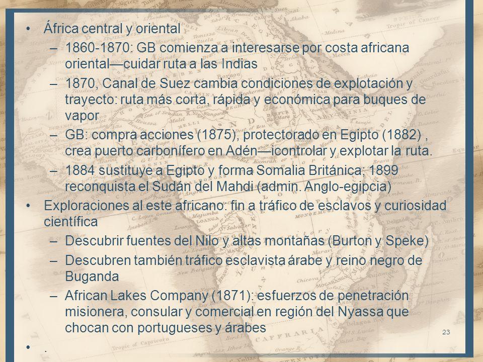 África central y oriental –1860-1870: GB comienza a interesarse por costa africana orientalcuidar ruta a las Indias –1870, Canal de Suez cambia condic