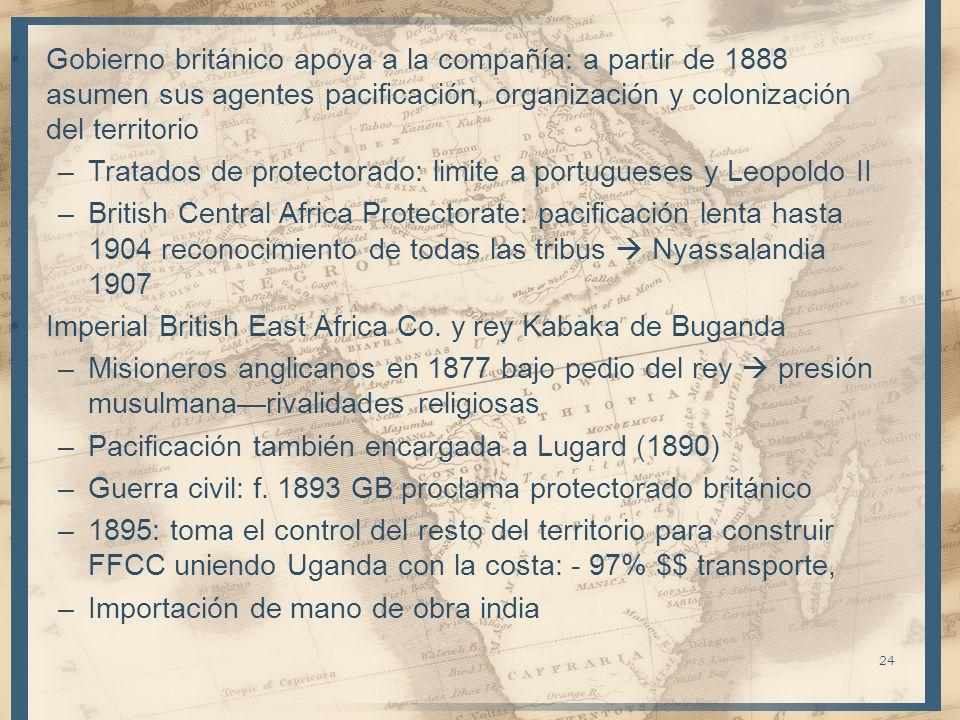 Gobierno británico apoya a la compañía: a partir de 1888 asumen sus agentes pacificación, organización y colonización del territorio –Tratados de prot