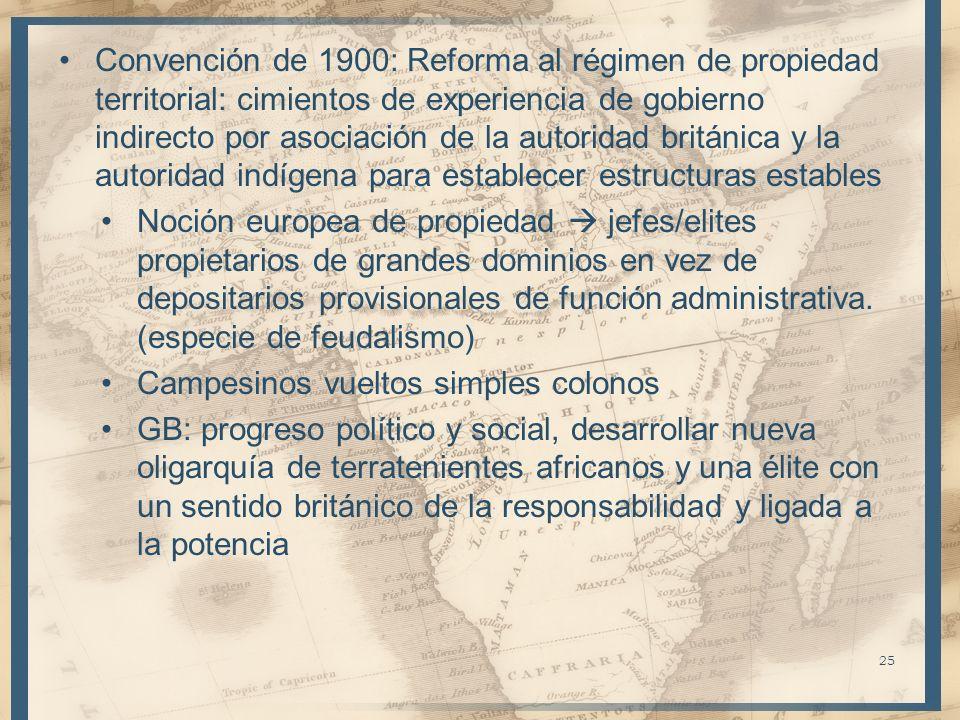 Convención de 1900: Reforma al régimen de propiedad territorial: cimientos de experiencia de gobierno indirecto por asociación de la autoridad británi