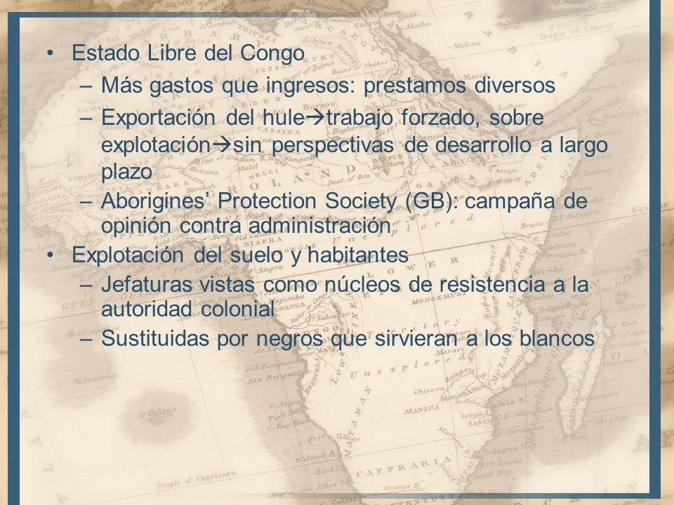 Estado Libre del Congo –Más gastos que ingresos: prestamos diversos –Exportación del hule trabajo forzado, sobre explotación sin perspectivas de desar