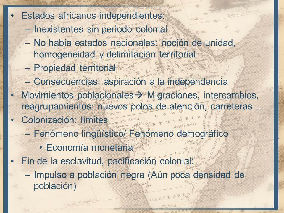 Estados africanos independientes: –Inexistentes sin periodo colonial –No había estados nacionales: noción de unidad, homogeneidad y delimitación terri