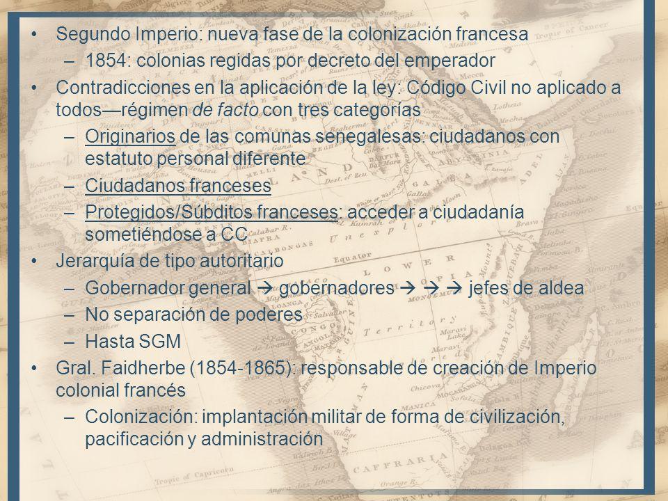 Segundo Imperio: nueva fase de la colonización francesa –1854: colonias regidas por decreto del emperador Contradicciones en la aplicación de la ley: