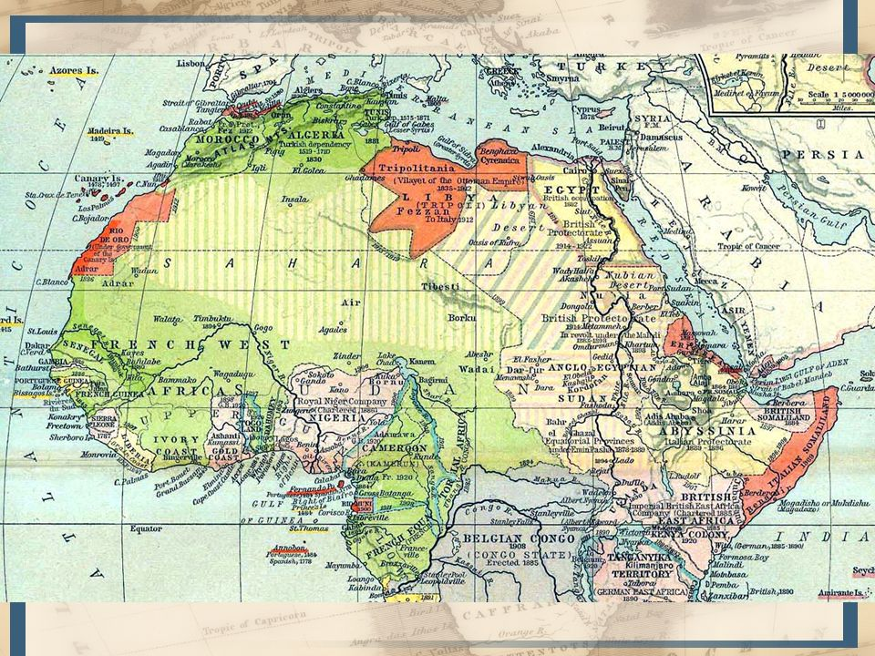 Pacificación = Prosperidad –Orientación geográfica: a partir de Senegal de O a E (Senegal Níger Chad) –Política de Napoleón III y Francia en Argelia (reino árabe) –Mantener la costa con ocupación al interior N a S Organización de la colonia del Senegal –Cuadro administrativo posteriormente utilizado por toda la colonización FR en África –Suspensión de la expansión: partida de Faidherbe, caída de Napoleón III 1880: Tercera república nuevo impulso a expansión –Sudán francés (1892); alcanzando Tombuctú un año después –Tuaregs expulsados hasta 1898 –Se establece comunicación entre el Sudán y la costa: punto de unión entre Senegal, comercio de Costa de Marfil, Guinea y Dahomey