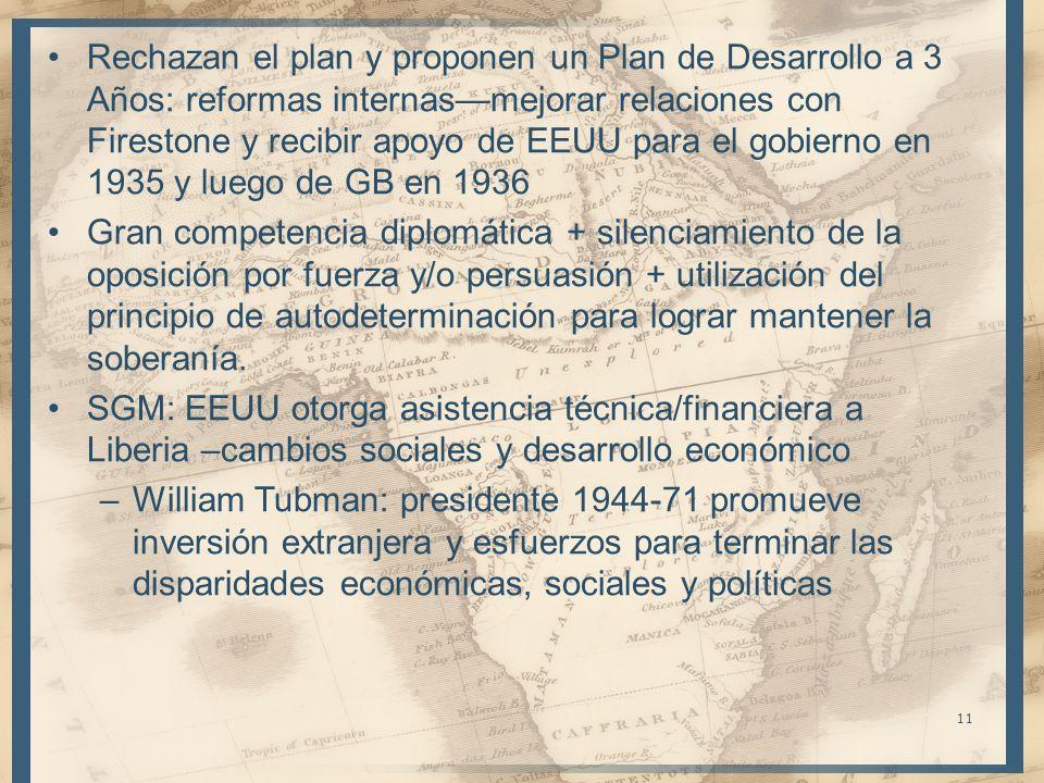 Rechazan el plan y proponen un Plan de Desarrollo a 3 Años: reformas internasmejorar relaciones con Firestone y recibir apoyo de EEUU para el gobierno