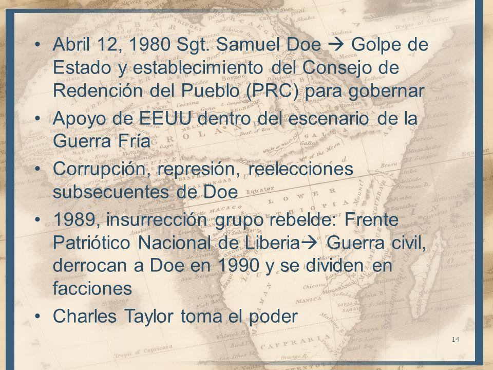 Abril 12, 1980 Sgt. Samuel Doe Golpe de Estado y establecimiento del Consejo de Redención del Pueblo (PRC) para gobernar Apoyo de EEUU dentro del esce