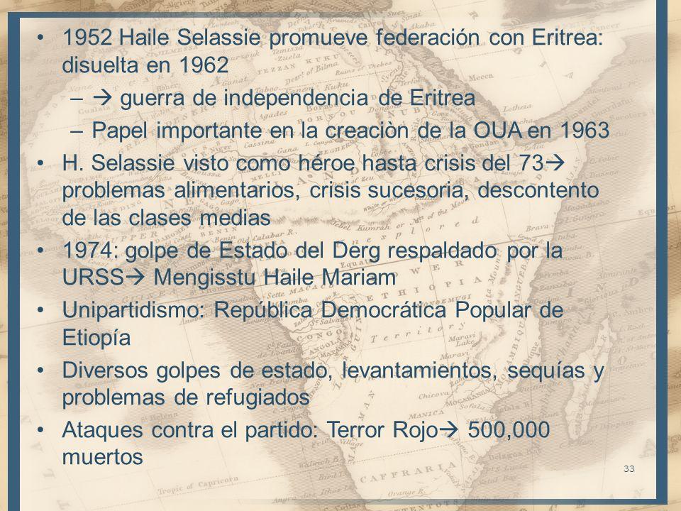 1952 Haile Selassie promueve federación con Eritrea: disuelta en 1962 – guerra de independencia de Eritrea –Papel importante en la creaciòn de la OUA