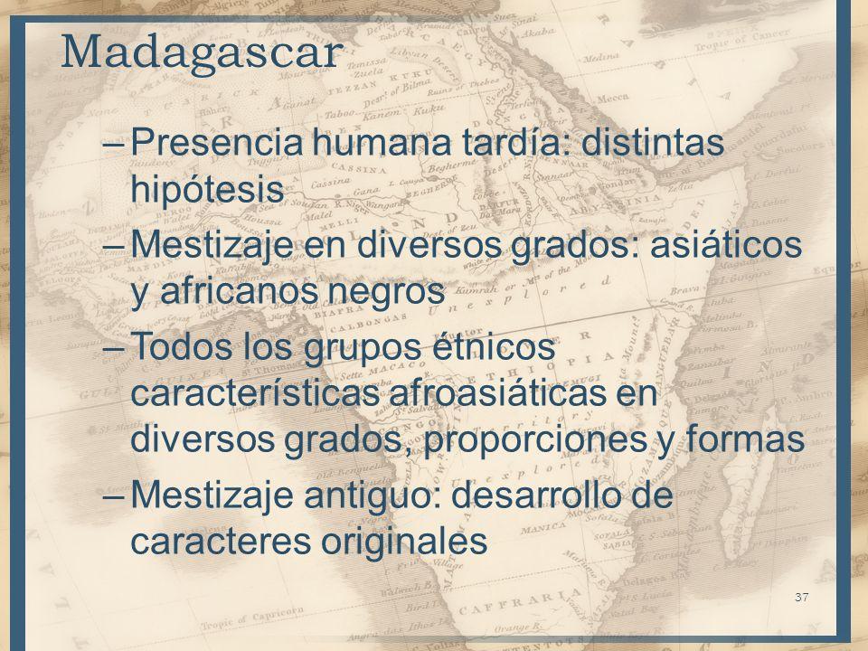 Madagascar –Presencia humana tardía: distintas hipótesis –Mestizaje en diversos grados: asiáticos y africanos negros –Todos los grupos étnicos caracte