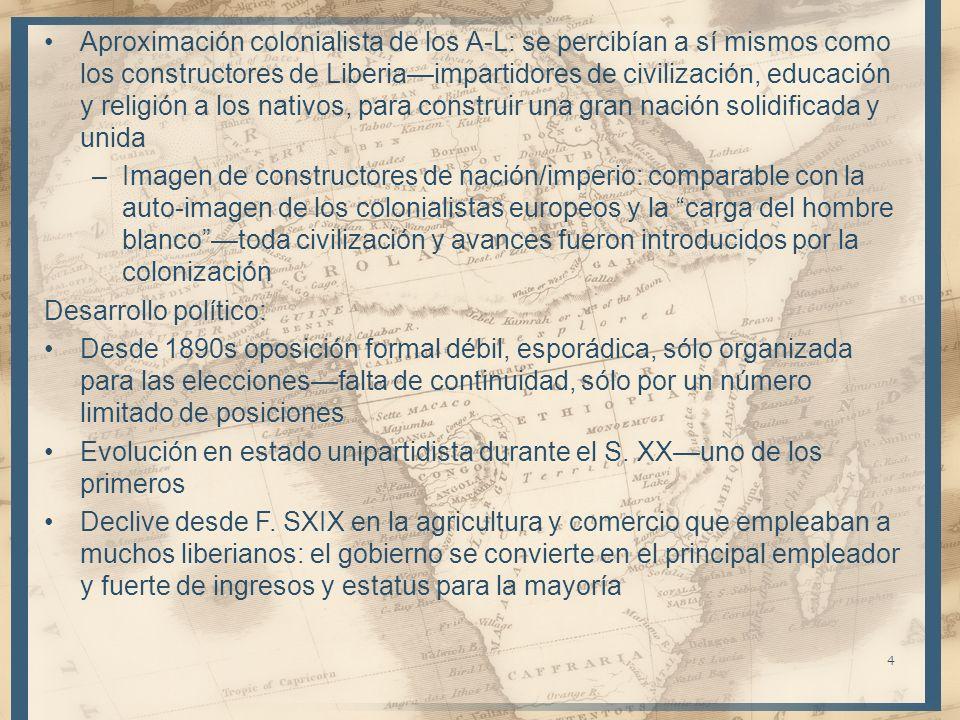 Aproximación colonialista de los A-L: se percibían a sí mismos como los constructores de Liberiaimpartidores de civilización, educación y religión a l