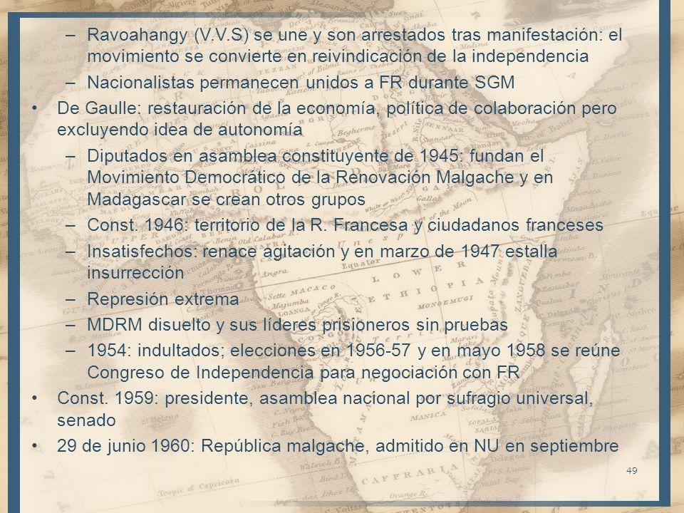 –Ravoahangy (V.V.S) se une y son arrestados tras manifestación: el movimiento se convierte en reivindicación de la independencia –Nacionalistas perman