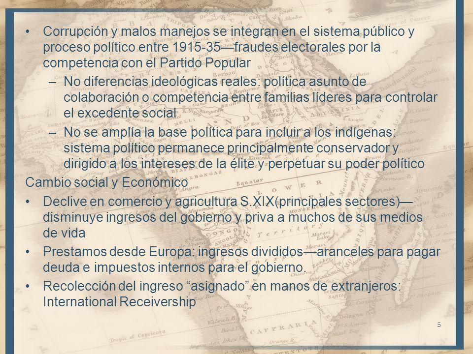 Corrupción y malos manejos se integran en el sistema público y proceso político entre 1915-35fraudes electorales por la competencia con el Partido Pop