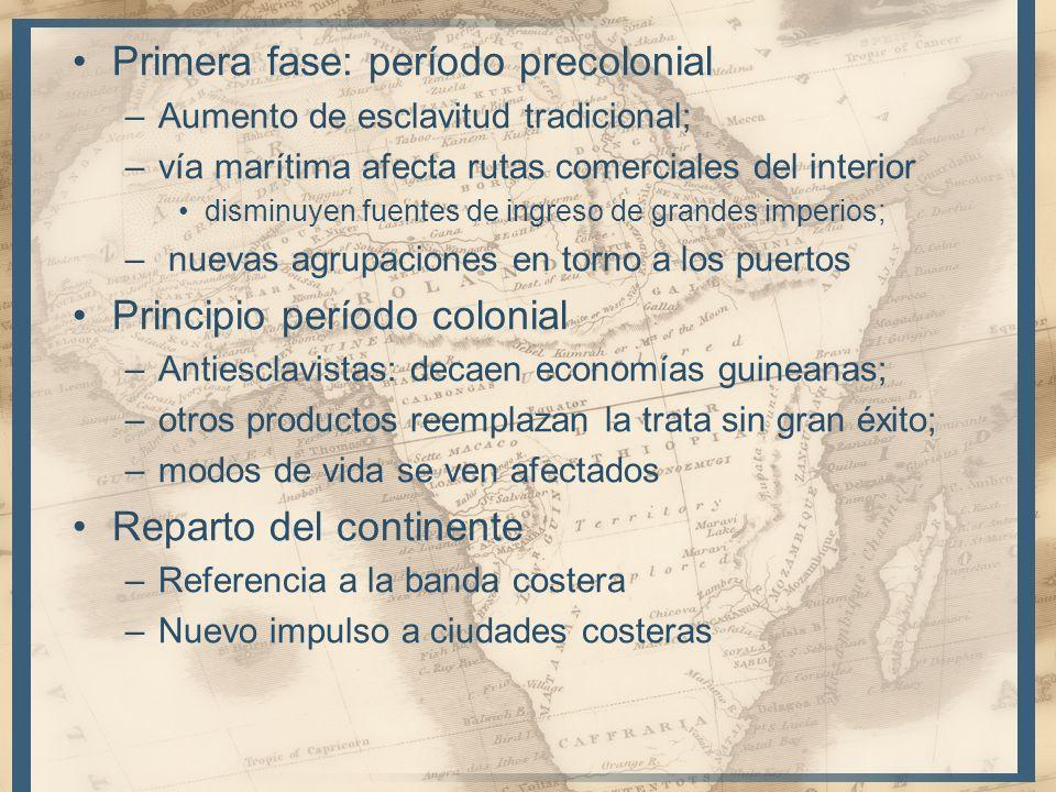 Primera fase: período precolonial –Aumento de esclavitud tradicional; –vía marítima afecta rutas comerciales del interior disminuyen fuentes de ingres