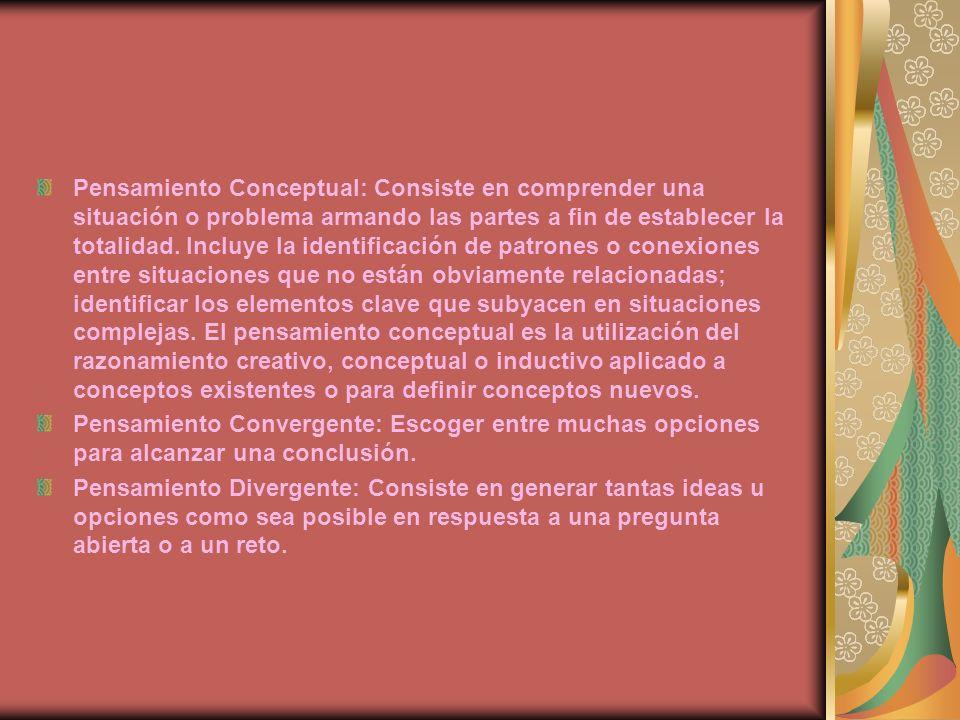Pensamiento Conceptual: Consiste en comprender una situación o problema armando las partes a fin de establecer la totalidad. Incluye la identificación