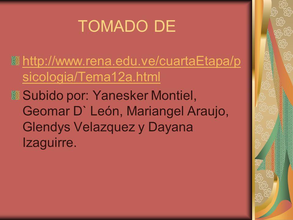 TOMADO DE http://www.rena.edu.ve/cuartaEtapa/p sicologia/Tema12a.html Subido por: Yanesker Montiel, Geomar D` León, Mariangel Araujo, Glendys Velazquez y Dayana Izaguirre.