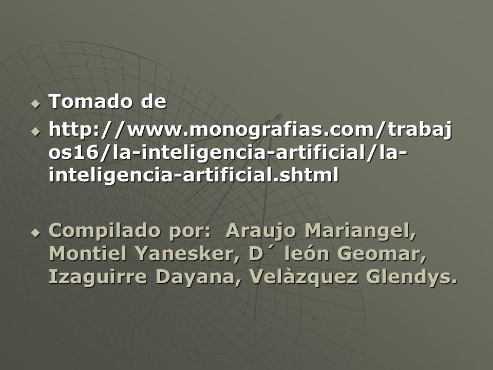Tomado de Tomado de http://www.monografias.com/trabaj os16/la-inteligencia-artificial/la- inteligencia-artificial.shtml http://www.monografias.com/trabaj os16/la-inteligencia-artificial/la- inteligencia-artificial.shtml Compilado por: Araujo Mariangel, Montiel Yanesker, D´ león Geomar, Izaguirre Dayana, Velàzquez Glendys.