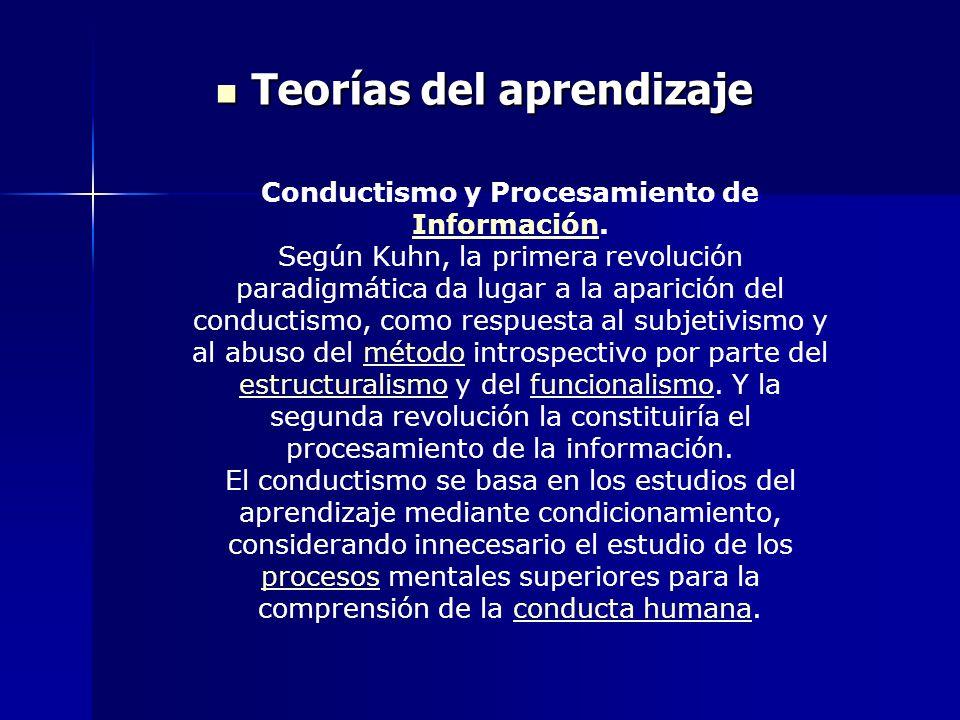 Teorías del aprendizaje Teorías del aprendizaje Conductismo y Procesamiento de Información. Información Según Kuhn, la primera revolución paradigmátic