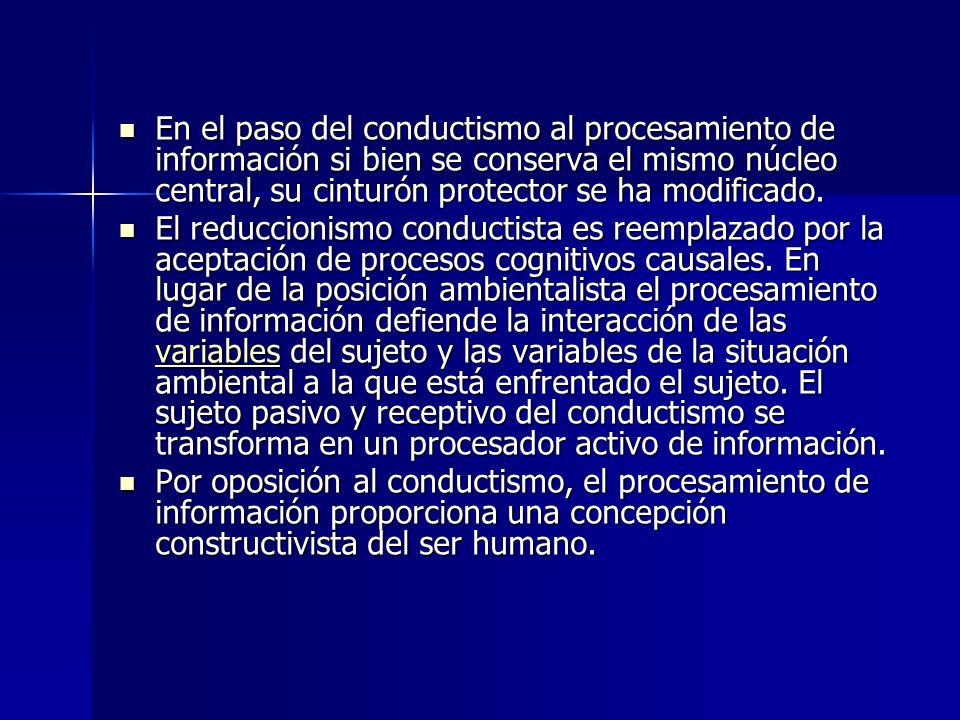 De acuerdo a muchos autores, el procesamiento de información no constituye una programa progresivo respecto del conductismo y ha recibido muchas críticas debido a sus insuficiencias y limitaciones.