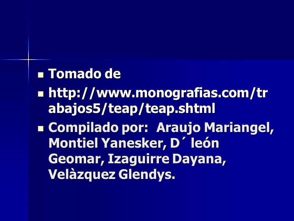 Tomado de Tomado de http://www.monografias.com/tr abajos5/teap/teap.shtml http://www.monografias.com/tr abajos5/teap/teap.shtml Compilado por: Araujo